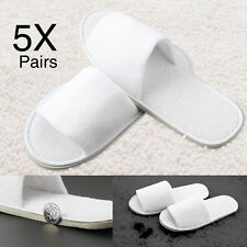 5X MEN/LADIES WHITE TOWELLING TERRY SPA/HOTEL DISPOSABLE OPEN TOE SLIPPERS GUEST