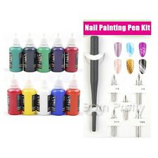 10 Farbe Nail Art Painting Ink Nagel Malerei Tinte & Drawing Pen Tools Stift Kit