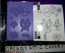 STAMPIN UP MERCI 6 RUBBER STAMPS BEE BUTTERFLY FLOWERS