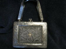 VINTAGE  GREY WITH BEADED AND ONE LARGE PHINESTONE IN CENTER  LUCITE PURSE