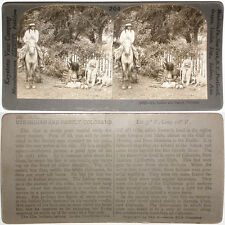 Keystone Stereoview of a Ute Indian Family in COLORADO from 1910's Education Set