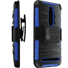 For Asus Zenfone 2 Blue & Black Hybrid Armor Case + Belt Clip Holster Cover