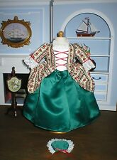 """1770s American Colonial Holiday Christmas Gown & Cap for 18"""" Girl Dolls Felicity"""