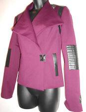 NEW Stella & Jamie purple jacket with leather trim S RRP £275