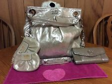 Coach Gold Metallic Shimmer Leather Hobo with matching accessories
