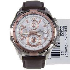 IMPORTED Casio Edifice white dial EFR-539L Brown Leather strap Men's watch.NEW