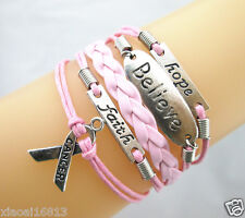 Pink Hope/Believe/Faith/Breast Cancer Awareness RIBBON Leather Braided Bracelet