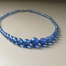 Vintage Retro Art Deco Blue Facetted Glass Graded Necklace 16.5in