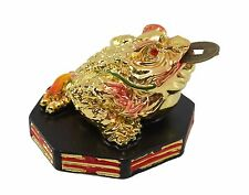 Gold Fortune Toad Money Coin Frog with Base Feng Shui Decoration Christmas Gift