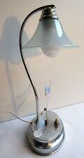lampe de table ART DECO métal chromé abat-jour verre irisé, colombes opalescente