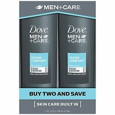 Dove Men+Care Body and Face Wash, Clean Comfort 18 oz, Twin Pack