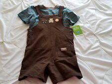 NWT CARTER'S Boy's 24 Months Blue Brown Bear 100% Cotton 2 Piece Overalls Outfit