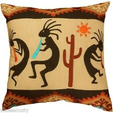 Kokopelli Southwestern Geometric Pattern Cactus Native Accent Throw Pillow Decor