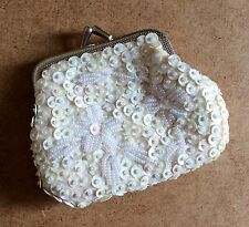 BEADED COIN PURSE WALLET Vintage WHITE SEQUINS Hasp Clutch Girls Gift Women Bag