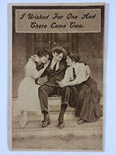 """""""I Wished For One & Then Came Two"""" Player Love Pimp Divided Back Postcard 1911"""