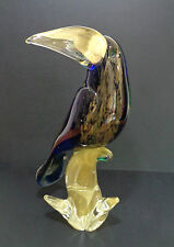 Ultrafine Murano Glass Toucan Bird Cobalt Blue Gold Flecks Made in Italy, Venice