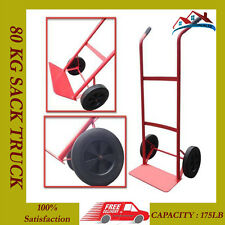 80KG HEAVY DUTY SACK TRUCK INDUSTRIAL HAND TROLLEY CART WHEEL BARROW 175LB NEW