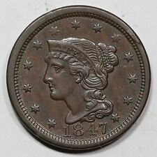 1847 N-12 R-3 Obv Rim Break Braided Hair Large Cent Coin 1c