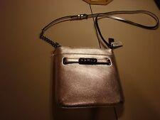 New Coach Silver Leather Crossbody Swingpack Swagger Bag 36501 NWT $195