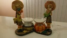 2 Fall Halloween /Thanksgiving Resin Scarecrow Figurines/Votive Holders-New