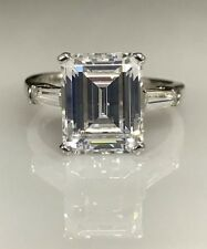 Emerald Cut Engagement Ring with Accents 3.25 CTW .  14K White Gold  #4526