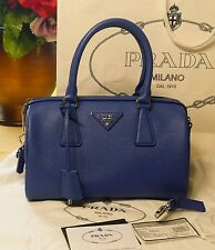 Prada crossbody bowler Saffiano leather Azzurro color