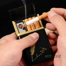 USB Electric Rechargeable Dual Arc Cigarett Lighter Tobacco Flameless Box Holder
