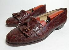 $1200 BRAGANO by COLE HAAN Brown MENS GENUINE CROCODILE TASSEL LOAFERS SIZE 9 D