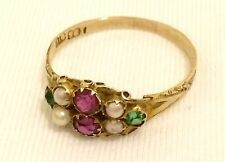 Rare Antique Georgian 9ct Gold, Paste Stone & Seed Pearl Ring in Original Box