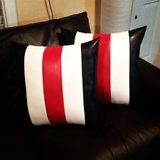 Home sofa black white red stripes leather decorative case cushion pillow cover
