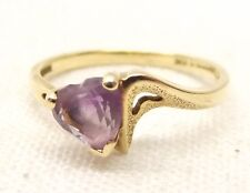 Vtg 10K Gold Heart Cut Amethyst Ring Sz 6.5 Estate Signed Magic Glo Textured