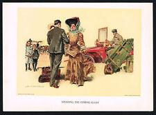 1907 Vintage Howard Chandler Christy Girl Victorian Fashion Motor Car Art Print