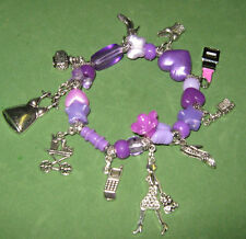 """""""A DAY AT THE MALL-SHOPPING SPREE"""" -BEADED CHARM BRACELET-HANDCRAFTED-PURPLE"""