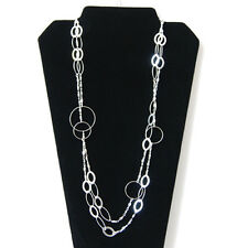Long Fancy Double Layer Circle Oval Shape Open Chain Link Silver Plated Necklace