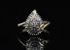 10k Diamond Yellow & White Gold Cluster Ring - size 7