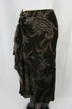 Ralph Lauren Skirt size Large Brown Paisley Velvet Silk Ruffle Modest Cocktail
