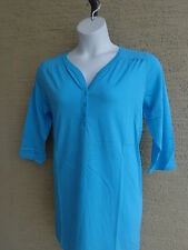 New Woman Within Henley Neckline 3/4 Sleeve Tunic Top Plus Size L Aqua