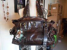 Babee D Leather Shoulder Duffle  Bag Purse Large