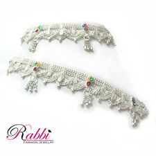 Rabbi Silver Plated Two Frill lubed Disha Anklet Payal Alloy