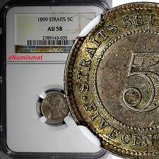 STRAITS SETTLEMENTS Victoria 1899 5 Cents NGC AU58  LOW MINTAGE:78,000 SCARCE