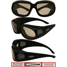 TRANSITION PHOTOCHROMIC Motorcycle Sunglasses FIT OVER RX GLASSES CLEAR TO SMOKE