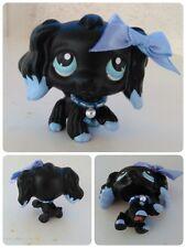 Littlest Pet Shop OOAK Black Blue SPANIEL COCKER dipped ears NO NUMBER necklace