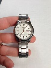 SEIKO 5 7S26 AUTOMATIC FOR MEN WHITE DIAL STANLESS STEEL date see through back