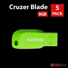 Lot of 5 SanDisk Cruzer Blade 8GB Flash Drive USB 2.0 Thumb Stick Pen Pack Green