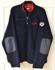 Vtg 90's Tommy Hilfiger XXL Fleece Pullover 1/4 Zip Spell Out Patch Logo Navy