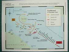WW2 WWII MAP ~ GUADALCANAL 13 NOV 1942 JAPANESE MOVEMENT US SHIP SUNK ABE'S