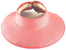 Summer Beach Women Roll Paper Straw Visor With Bow-Coral-UPF 50+ UV Protection
