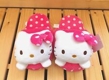 Sanrio Hello Kitty Soft Warm Polyester Plush Slippers F Size US 7.5  -Polka Dots