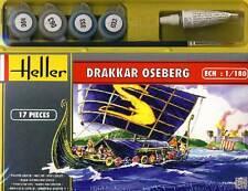 Heller Oseberg Drakkar Segelschiff +Farbe Pinsel Kleber Modell-Bausatz 1:180 kit