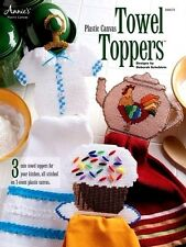 Plastic Canvas Towel Toppers Pattern Leaflet: 3 Designs - Cupcake, Teapot, Dress